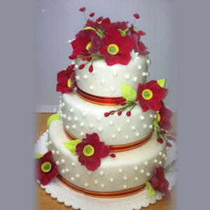 Свадебный с красными цветами